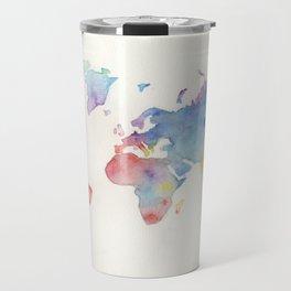 Watercolour world map Travel Mug