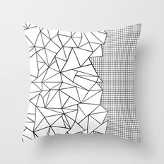 Abstraction Outline Grid on Side White Throw Pillow