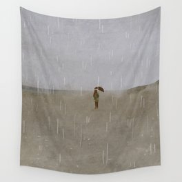 rainy day at the beach Wall Tapestry