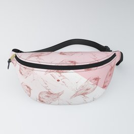 red bird on pink mosaic Fanny Pack