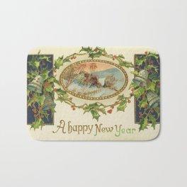 A Happy Vintage New Year Bath Mat