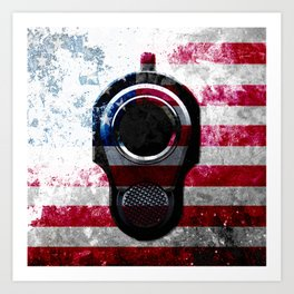 M1911 Colt 45 and American Flag on Distressed Metal Art Print