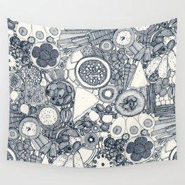 vegetarian party platter indigo Wall Tapestry