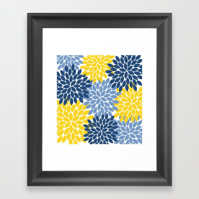 Blue Yellow Flower Burst Floral Pattern Gerahmter Kunstdruck