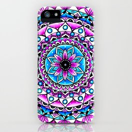 Mandala #2 Wall Tapestry Throw Pillow Duvet Cover Bright Vivid Blue Turquoise Pink Contempora Modern iPhone Case