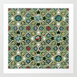 8-fold Rosettes with Flowers Art Print