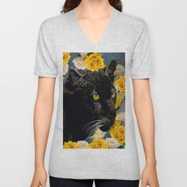 BLACK PANTHER AND YELLOW ROSES Unisex V-Neck