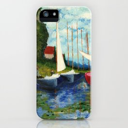 "Artistic Impression of Claude Monet's ""Red Boats at Argenteuil"" iPhone Case"