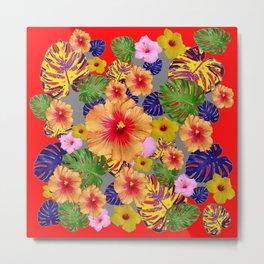 TROPICAL FLOWERS & LEAVES RED ART Metal Print