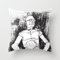 c3po Throw Pillows featuring C3PO by Samantha Chiusolo