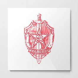 KGB Badge Outline Drawing Metal Print