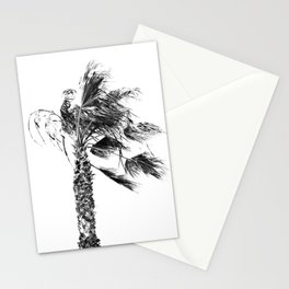 Gusty Black and White Palm Tree Stationery Cards