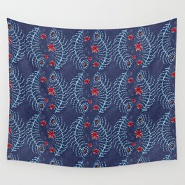 Stitched Peacock Feather Wall Tapestry
