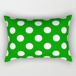 Islamic green - green - White Polka Dots - Pois Pattern Rectangular Pillow