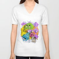 pacman V-neck T-shirts featuring Pacman by Jesús L. Yapor