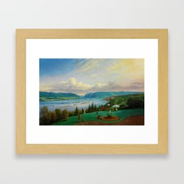 1872 Classical Masterpiece Landscape 'Newburgh on the Hudson River' by George Harvey Framed Art Print