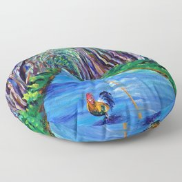 Tree Tunnel with Rooster Floor Pillow