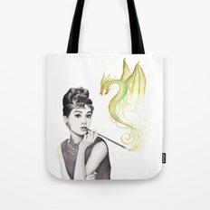 Audrey Hepburn and Dragon Tote Bag