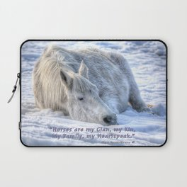 Snow Drifting - Equine Photo and Quote Laptop Sleeve