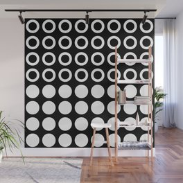 Mid Century Modern Circles And Dots Black & White Wall Mural