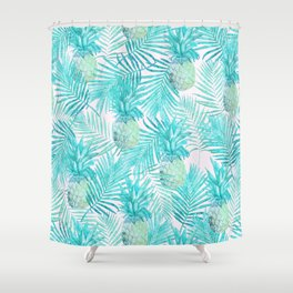 Turquoise Palm Leaves and Pineapples on Pink Shower Curtain