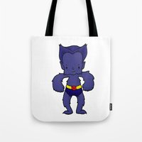 xmen Tote Bags featuring BEAST by Space Bat designs