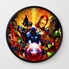 super heroes unite Wall Clock