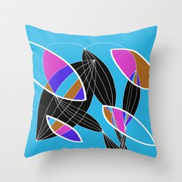 4 colors Organic objects on Blue - White Lines Throw Pillow
