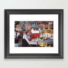 Wall painting from the Grand Palace in Bangkok, Thailand Framed Art Print
