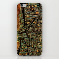 paris map iPhone & iPod Skins featuring Paris Map by Larsson Stevensem
