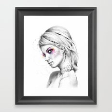 Beautiful Girl with Tattoos and Colorful Eyes Framed Art Print