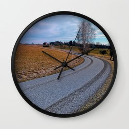 Country road into far distance | landscape photography Wall Clock
