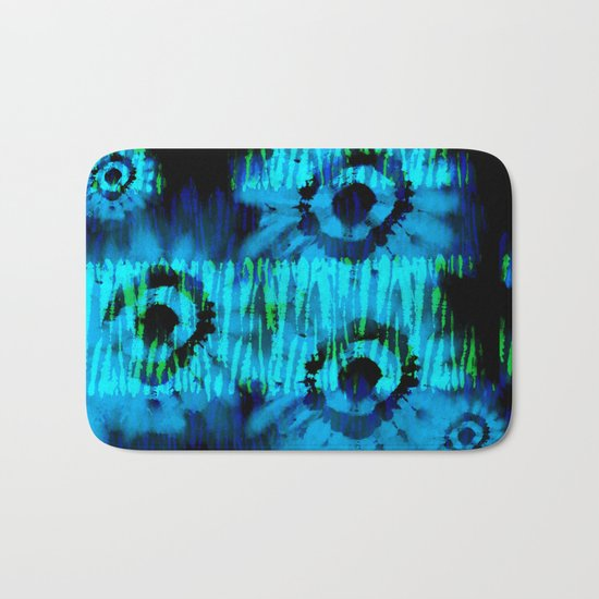 Blue and Green Tie Dye Bath Mat