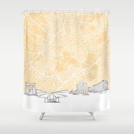 Athens Greece Skyline Map Shower Curtain