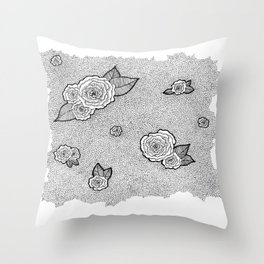 Dotted Floral Throw Pillow