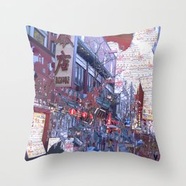 Yokohama Chinatown Throw Pillow