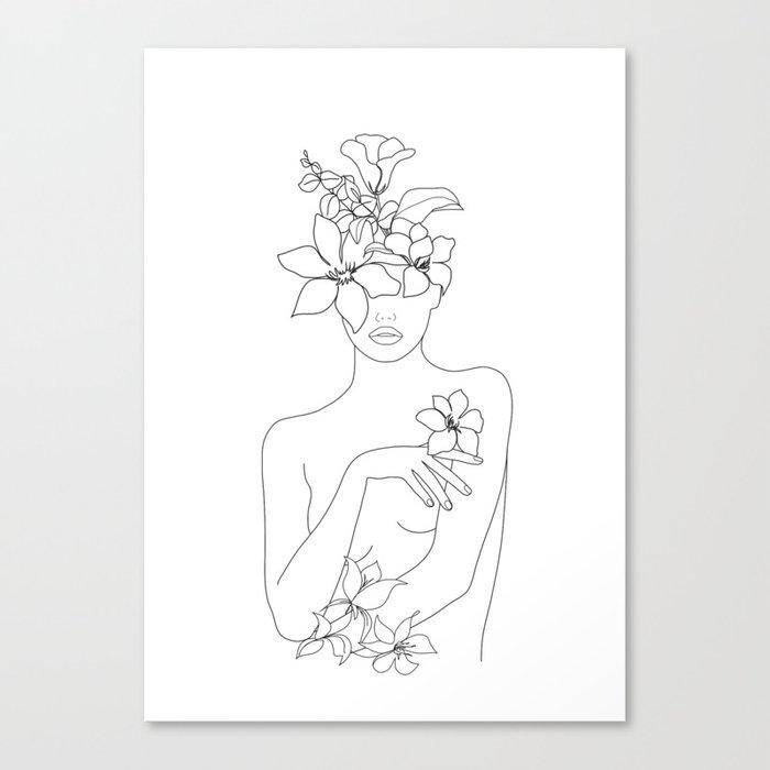 Minimal Line Art Woman with Flowers IV Leinwanddruck