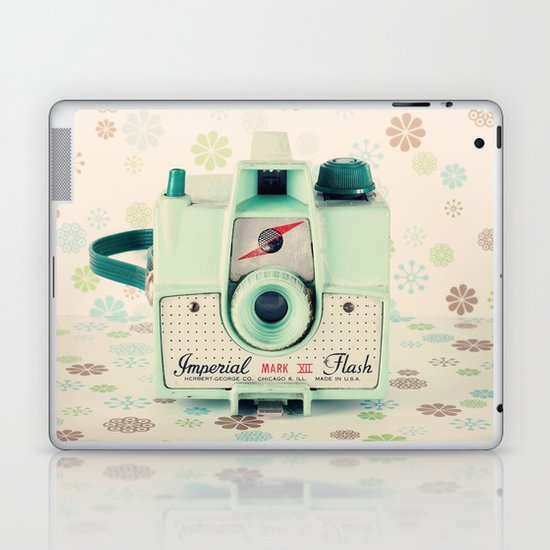 Mint Retro Film Camera on Beige - Cream Pattern Background  Laptop & iPad Skin