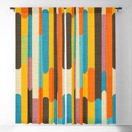 Retro Color Block Popsicle Sticks Orange Blackout Curtain