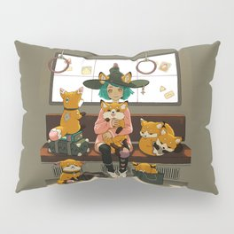 Witch and the magic foxes   Pillow Sham