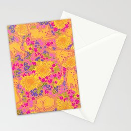 Cat Bouquet yellow orange Stationery Cards