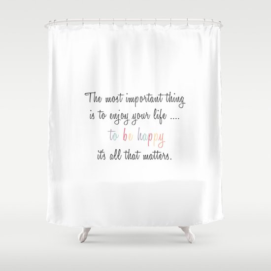 Inspiration Typography Quote Words Pastel Shower Curtain By Shabby - Shower curtain with words
