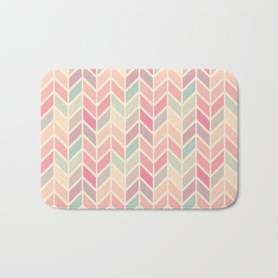 Pastel Chevron Geometric Pattern Bath Mat