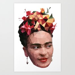Frida in low poly Art Print