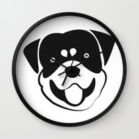 rottweiler Wall Clocks featuring Rottweiler by anabelledubois