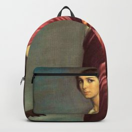 Classical Masterpiece 'La Copla' female guitar player portrait by Julio Romero de Torres Backpack