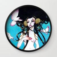 venus Wall Clocks featuring Venus by Leilani Joy