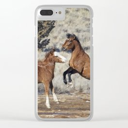Bachelor Stallions Practicing the Art of Fighting, No. 1 Clear iPhone Case
