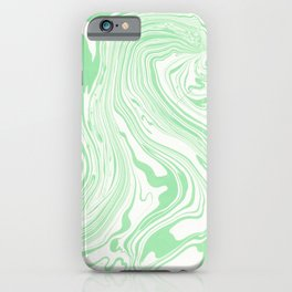 Pastel green & White marble Swirls iPhone Case