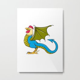 Basilisk Bat Wing Standing Cartoon Metal Print